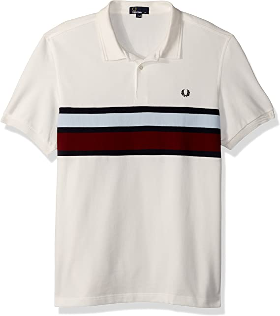 Fred Perry Hombres Stripe Panel Pique Shirt Manga Corta Camisa ...