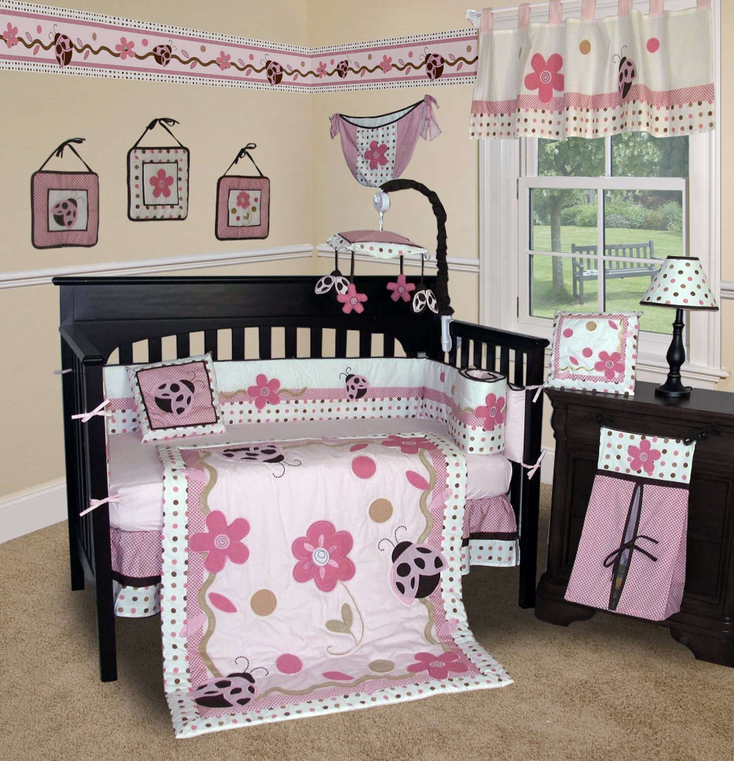 SISI Baby Girl Boutique - Ladybug 13 PCS Crib Bedding by Sisi   B005H7PH0E
