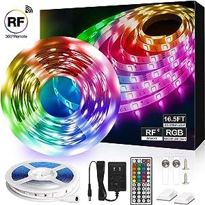 LED Strip Lights,16.5ft RGB LED Light Strip 5050 LED Tape Lights, Light Strip with 44key RF Remote for Home Lighting, Kitchen, Bedroom-Flexible Strip Lights for Bar, Party and Indoor Decoration