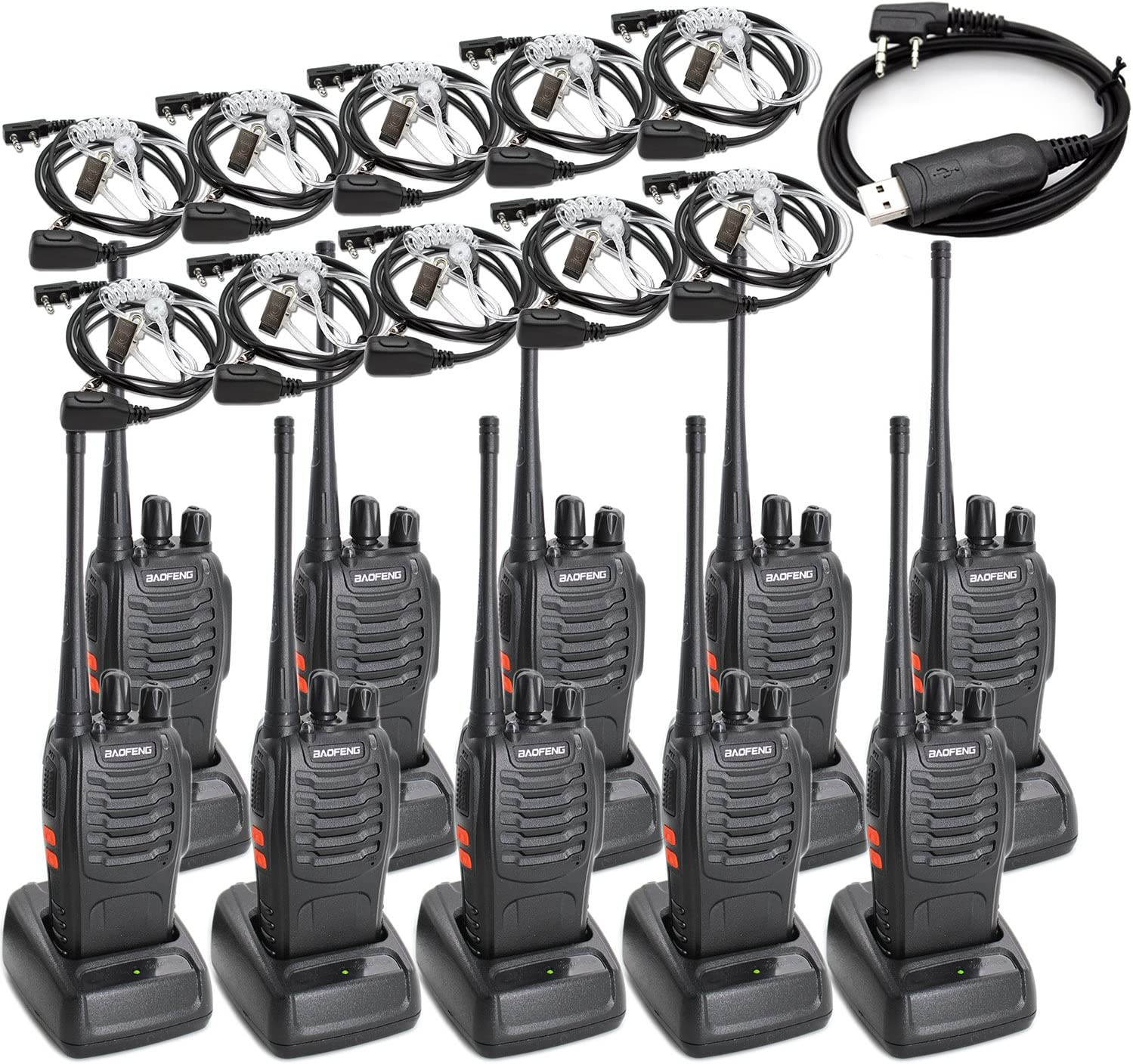 BAOFENG BF-888S Two Way Radio Long Range 16 CH Baofeng Radio and Covert Air Acoustic Tube Earpiece Pack of 10