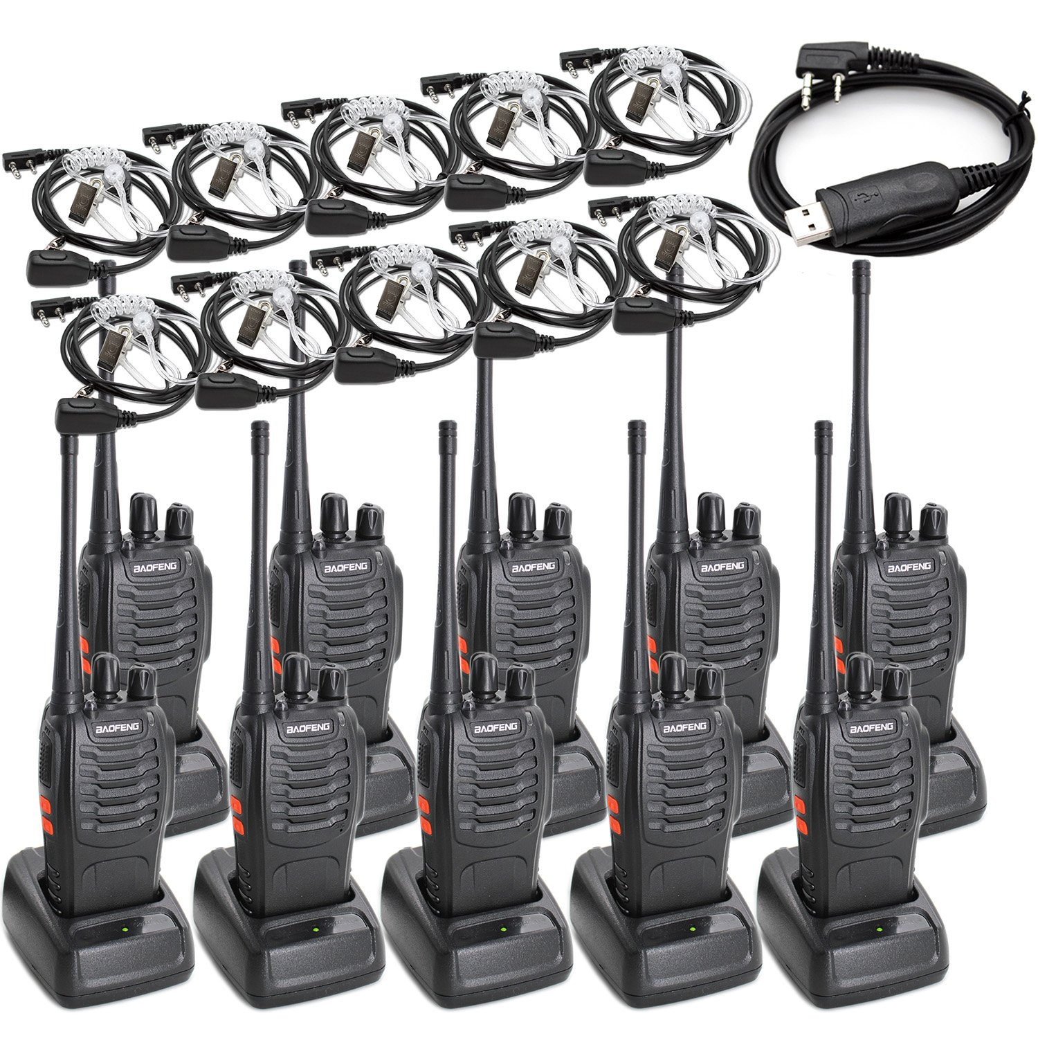 Baofeng BF-888S Two Way Radio Long Range 16 CH Baofeng Radio and Covert Air Acoustic Tube Earpiece (Pack of 10) by BaoFeng