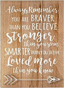 VILIGHT Woman Men Graduation Gift for Daughter Son - Doctorate Wall Art Quotes Positive Signs You are Braver Than You Believe 12x8.6 Inches