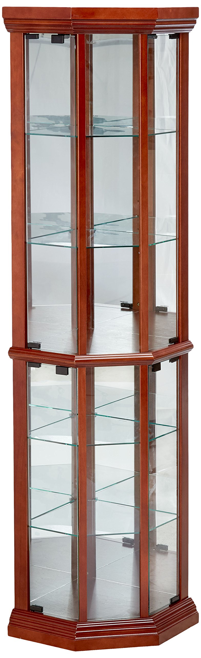 Glass Corner Curio Cabinet with 6-Shelf Medium Brown by Coaster Home Furnishings