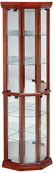 Coaster Solid Wood Glass Corner China Curio Cabinet, Medium Brown