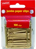 Staples Jumbo Gold Paper Clips, Smooth, 100/Pack