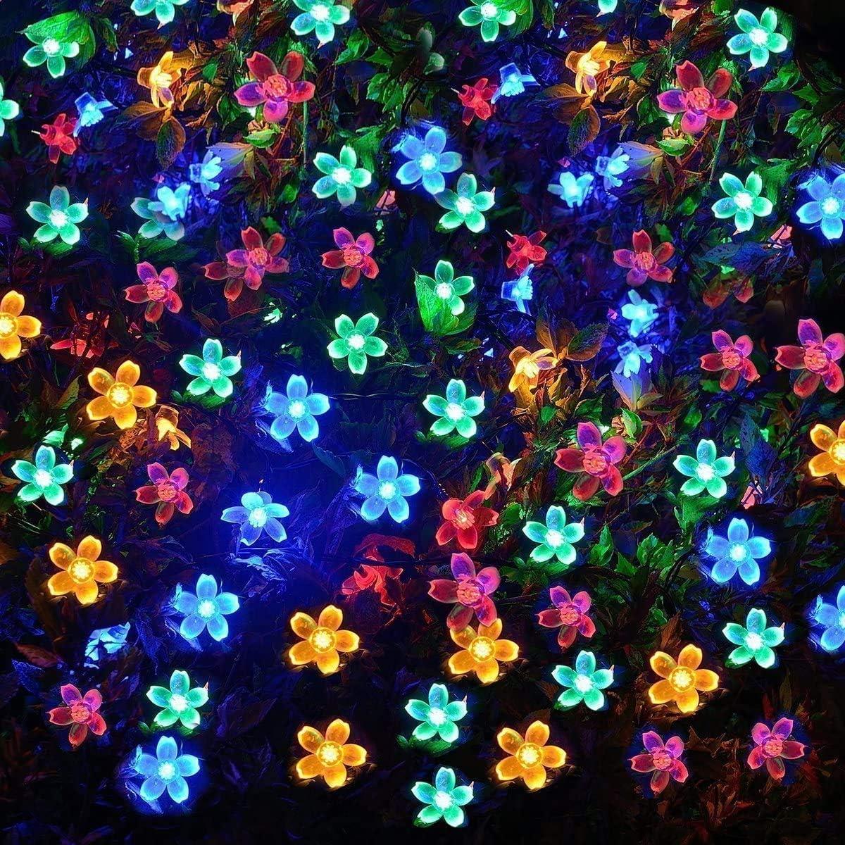 VMANOO Solar Outdoor Christmas String Lights 21ft 50 LED Fairy Flower Blossom Decorative Light for Indoor Garden Patio Party Xmas Tree Decorations Multi-Color