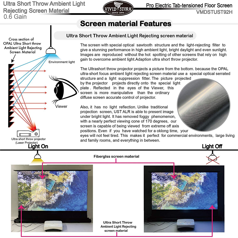 120 Zoll Diag 16: 9 Vividstorm Motorisierte Projektionswand f/ür 4K Ultra Short Throw Laserprojektor Ultra-Short-Throw-Umgebungslichtunterdr/ückung Drahtloser Projektor-Ausl/öser.