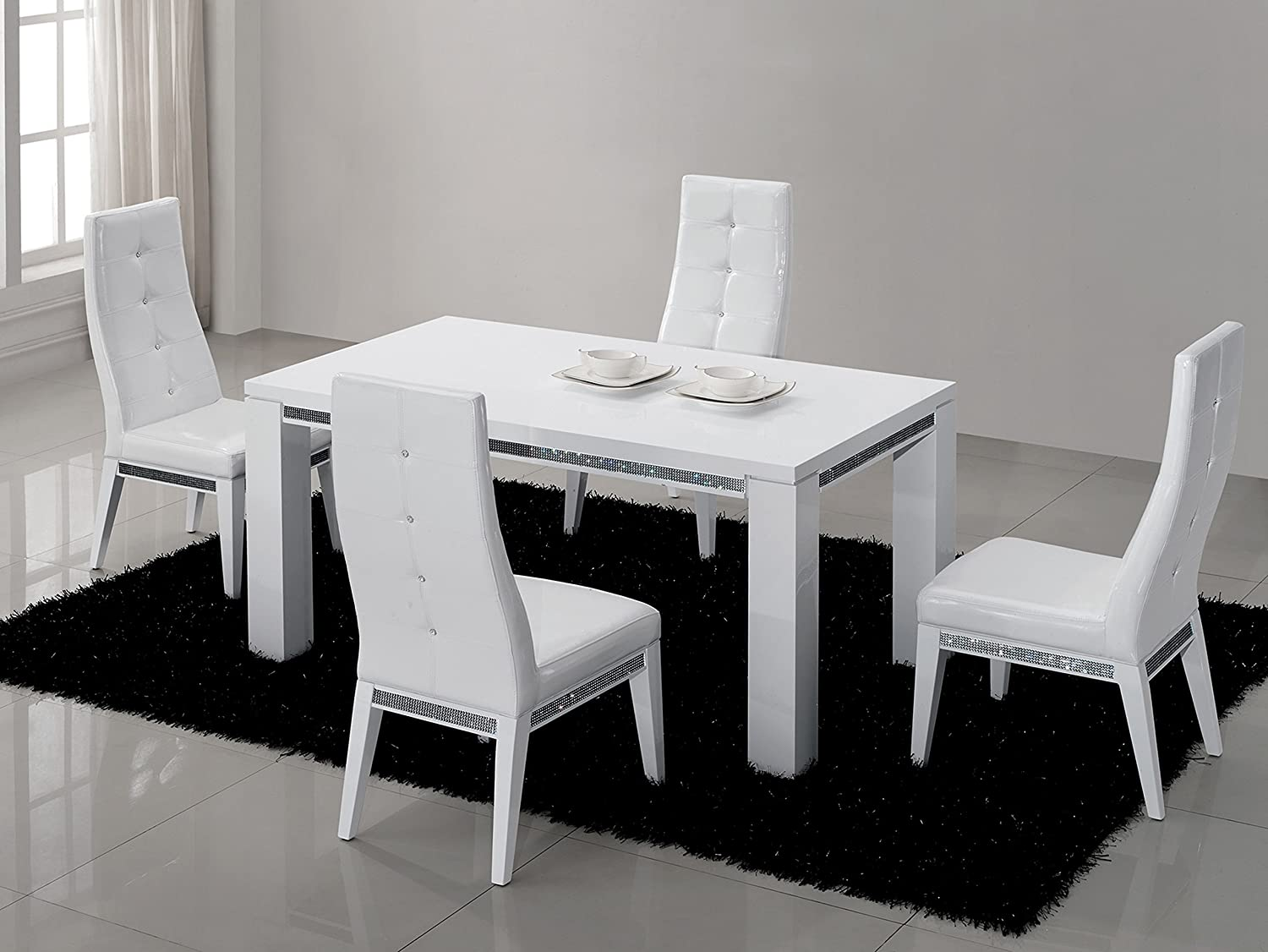 Table Manger 160 Cm Design Blanc Laqu Avec Strass Amazon Fr  # Meuble Strass