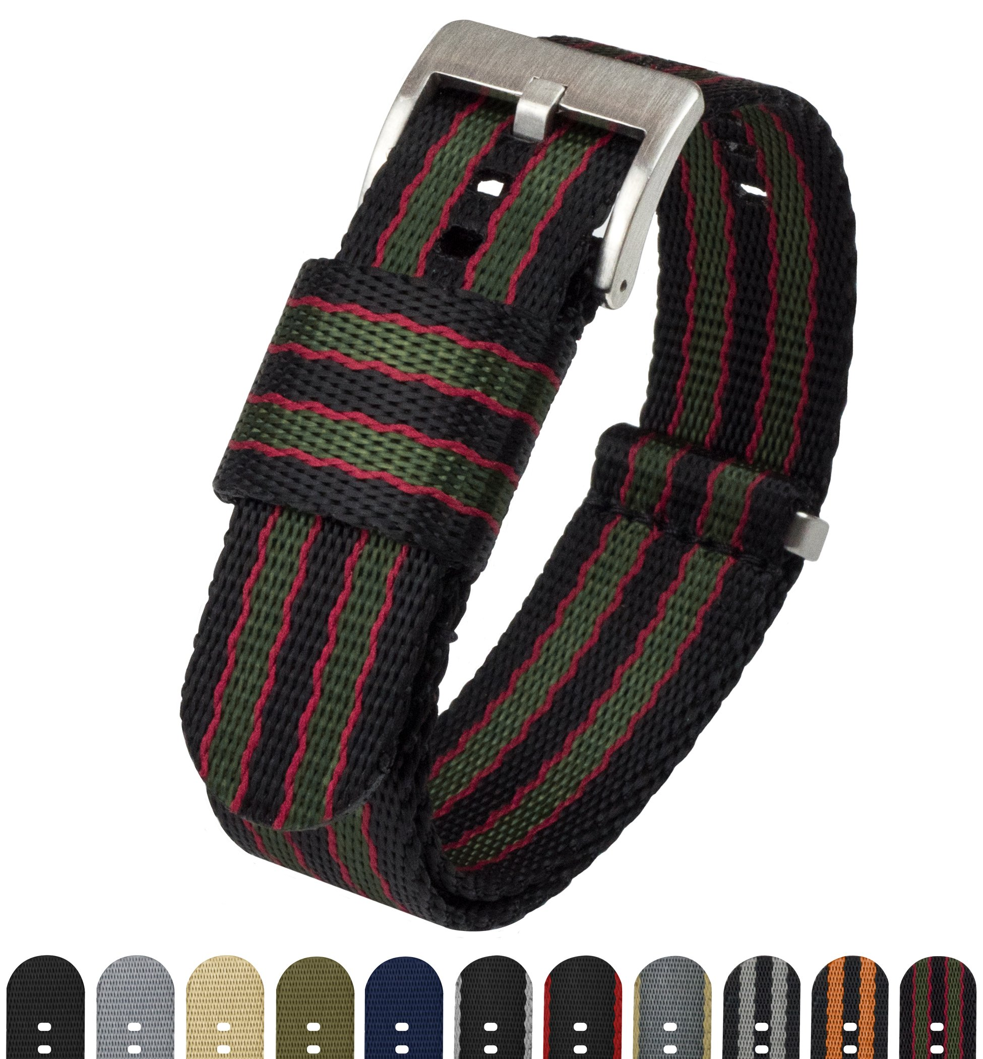 BARTON Jetson NATO Style Watch Strap - 18mm 20mm 22mm or 24mm - Black/Green/Red Classic Bond 20mm Nylon Watch Band