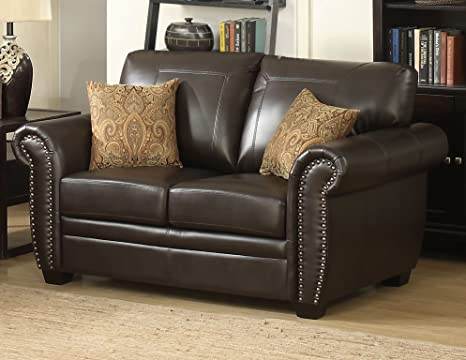 Super Ac Pacific Louis Collection Traditional Upholstered Leather Loveseat With Antique Brass Nail Head Trim And 2 Accent Pillows Brown Bralicious Painted Fabric Chair Ideas Braliciousco