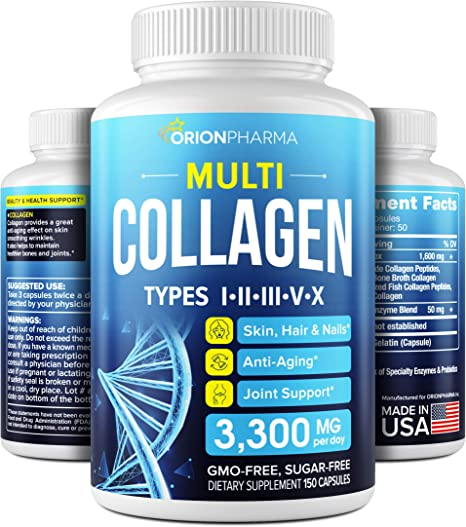 Multi Collagen Pills (Types I, II, III, V & X) - Fish Collagen & Bone Broth Capsules - Made in USA - Grass Fed Collagen Peptides - Anti-Aging Collagen Supplements - Hydrolyzed Collagen Capsules