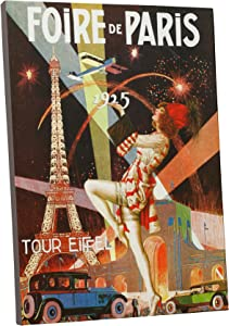 "Pingo World 0616QP895DY Foire de Paris Vintage Advertising Poster Gallery Wrapped Canvas Wall Art Print (30"" x 20""), Variable"