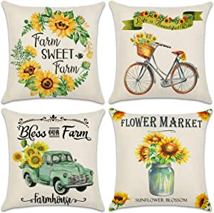 QUXIANG 4pcs Pillow Covers 18x18 Inches Floor Pillow Cases Flower Decorative Cotton Linen Cushion Case for Sofa Bedroom Car Housewarming Gifts Home Decor Invisible Zipper¡