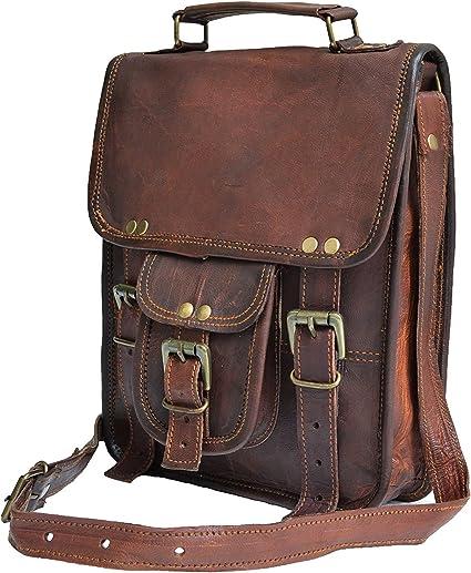 Retro Men Leather Messenger Bags Casual Large Shoulder Crossbody Handbag Purse