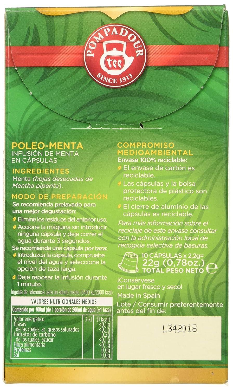 Pompadour - Poleo menta té - 10 cápsulas: Amazon.es: Alimentación ...