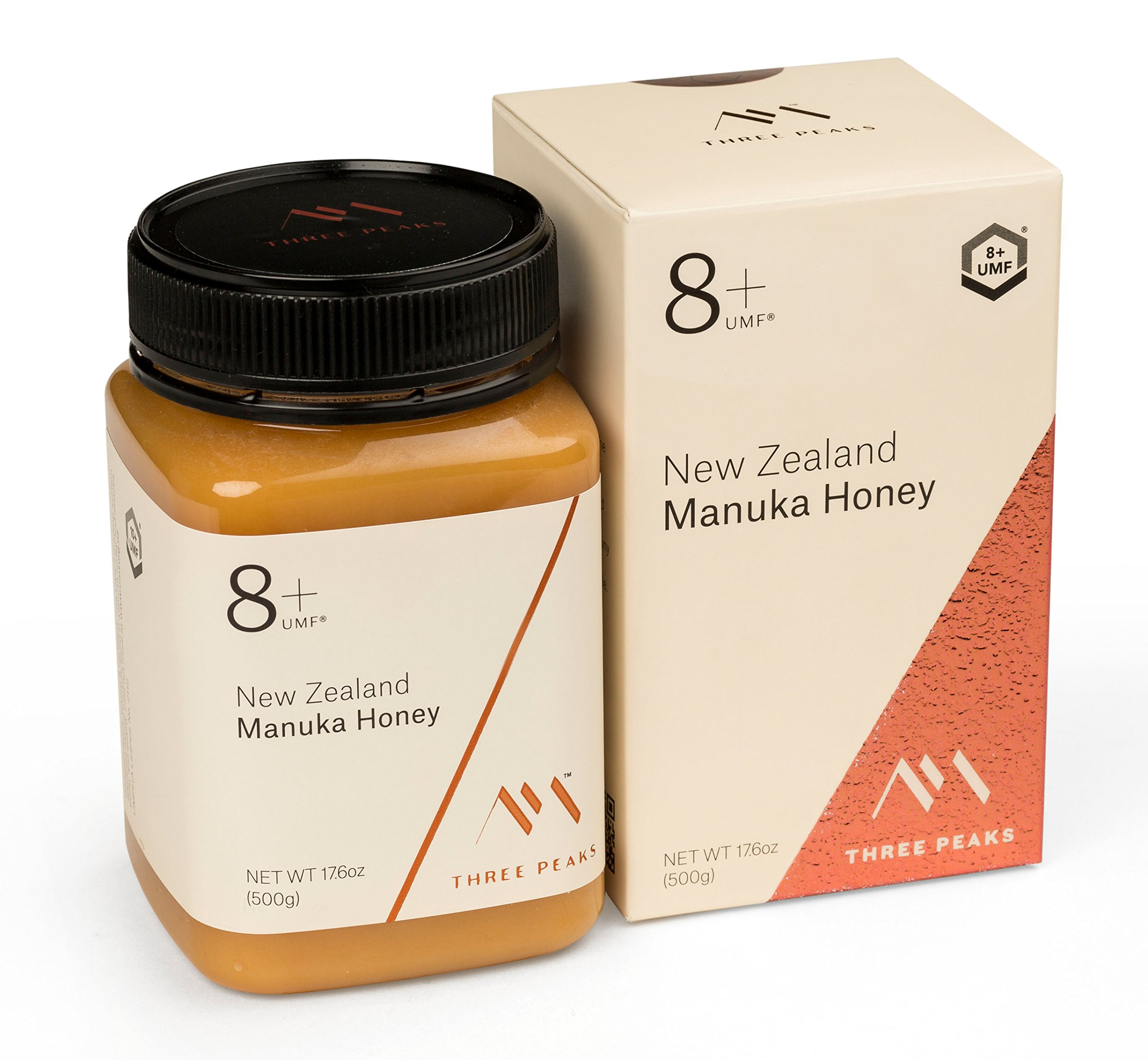 Three Peaks Manuka Honey New Zealand - Certified UMF 8+ - 17.6 oz (500gm) - 100% Natural honey, Raw honey – Ultra Premium, Healing Manuka honey