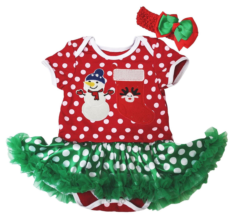 XMAS Rhinestone Santa Baby Black Bodysuit Red Leopard Girl Baby Dress NB-12Month