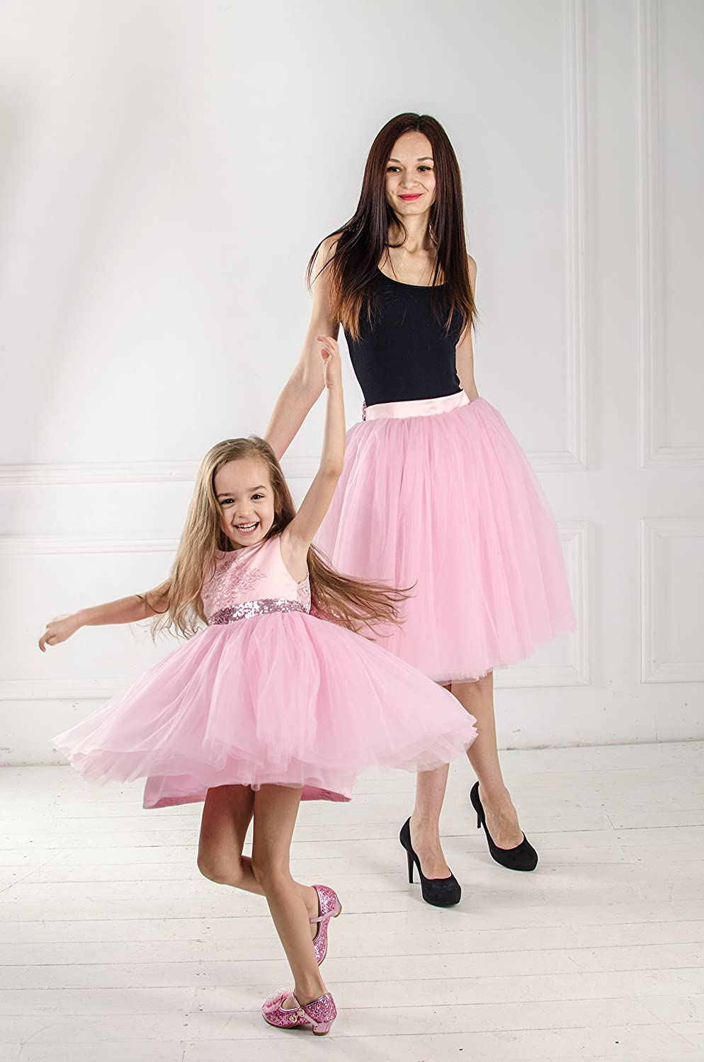 20d1136597 Amazon.com: Matching pink outfits Mother daughter matching tutu dresses, Mommy  and me pink dress skirt with sequin gold bow, party dress, birthday dress:  ...