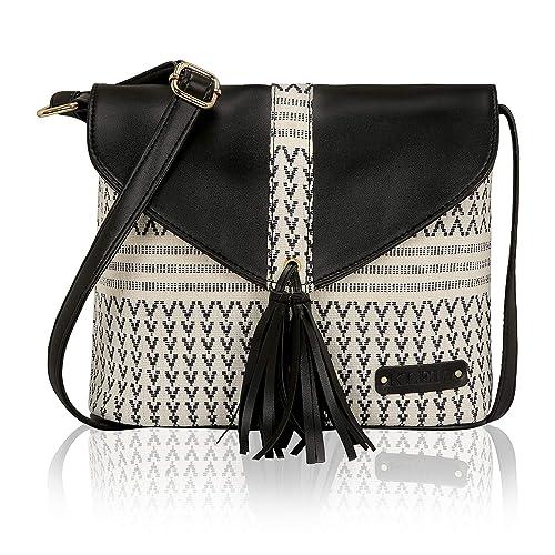 2cdf1b81ea02 KLEIO Women s Jacquard Crossbody Sling Bag (Black-White)  Amazon.in ...