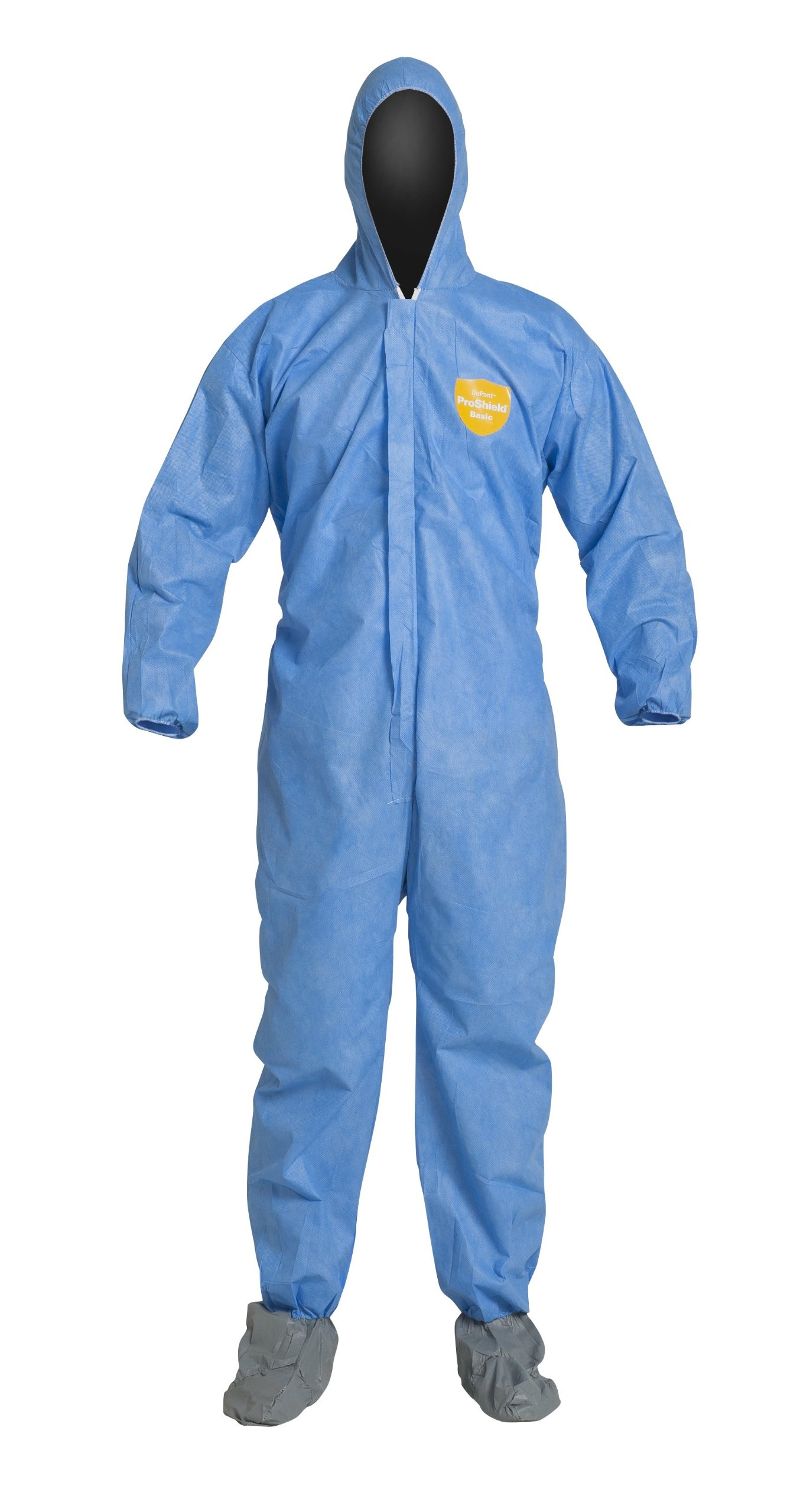DuPont ProShield 10 PB122S Disposable Protective Coverall with Elastic Cuff, Standard Fit Hood and Attached Skid-Resistant Boots, Blue, 2X-Large (Pack of 25)