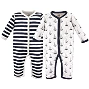 Hudson Baby Unisex Baby Coveralls/Union Suits, Sailboat 2-Pack, 0-3 Months (3M)