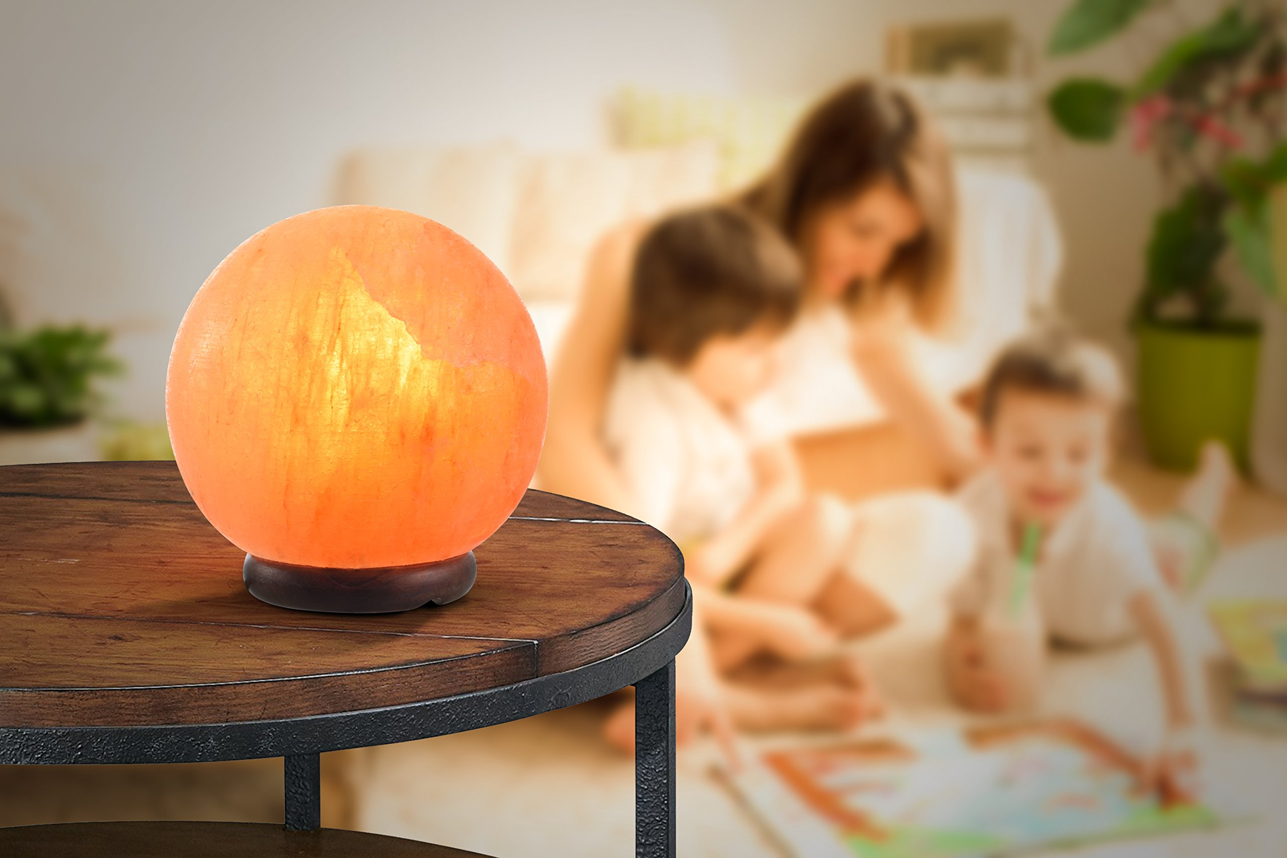 ShartPro Ball Natural Himalayan Salt Lamp - Handcrafted From Himalayan Rock Salt crystals - Beautiful Genuine Neem Wood Base - With 6'' UL Cord And Dimmable Switch + 2 Color bulbs, Clear and Red by ShartPro (Image #4)