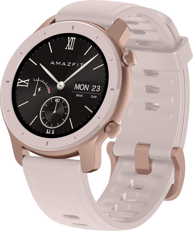 Amazfit GTR 42mm - Smartwatch (con medición óptica de la frecuencia cardíaca, Pantalla AMOLED, 5 ATM, Resistente al Agua y Correa de Silicona) Rosa