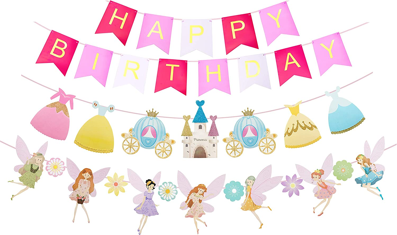 Fairy Birthday Decoration, Flower Fairies Girls Birthday Banner, Pink and Gold Happy Birthday Party Decorations, Fairy & Flower shape birthday party banner, Garden Fairy Home & Cab shape Banner