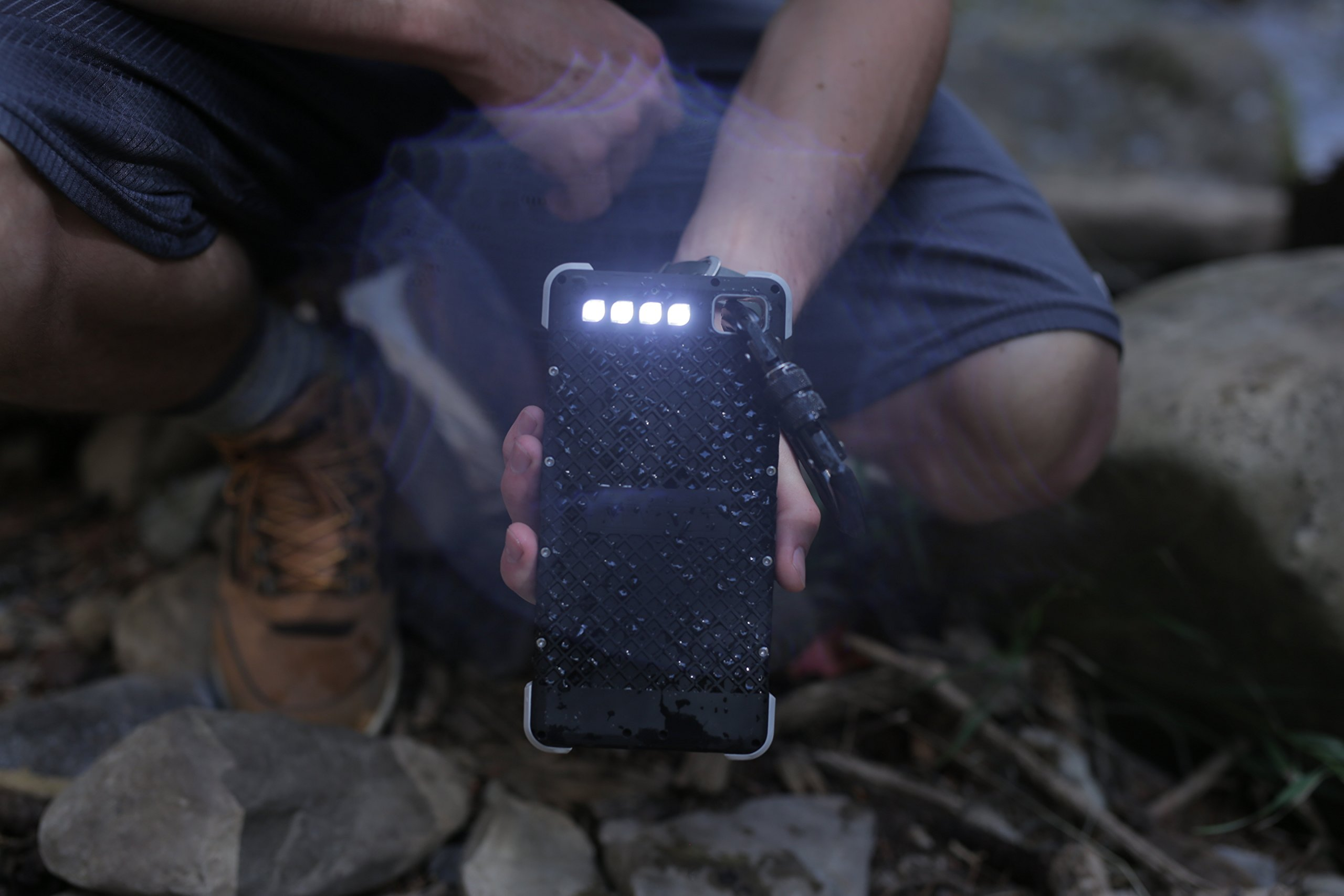 SOS20K - 20,000 mAh Rugged Solar Charger with Flashlight, IP67 Waterproof Solar Camping Battery & 4 Port USB Fast Charging Powerbank, by RoamProof by RoamProof (Image #6)
