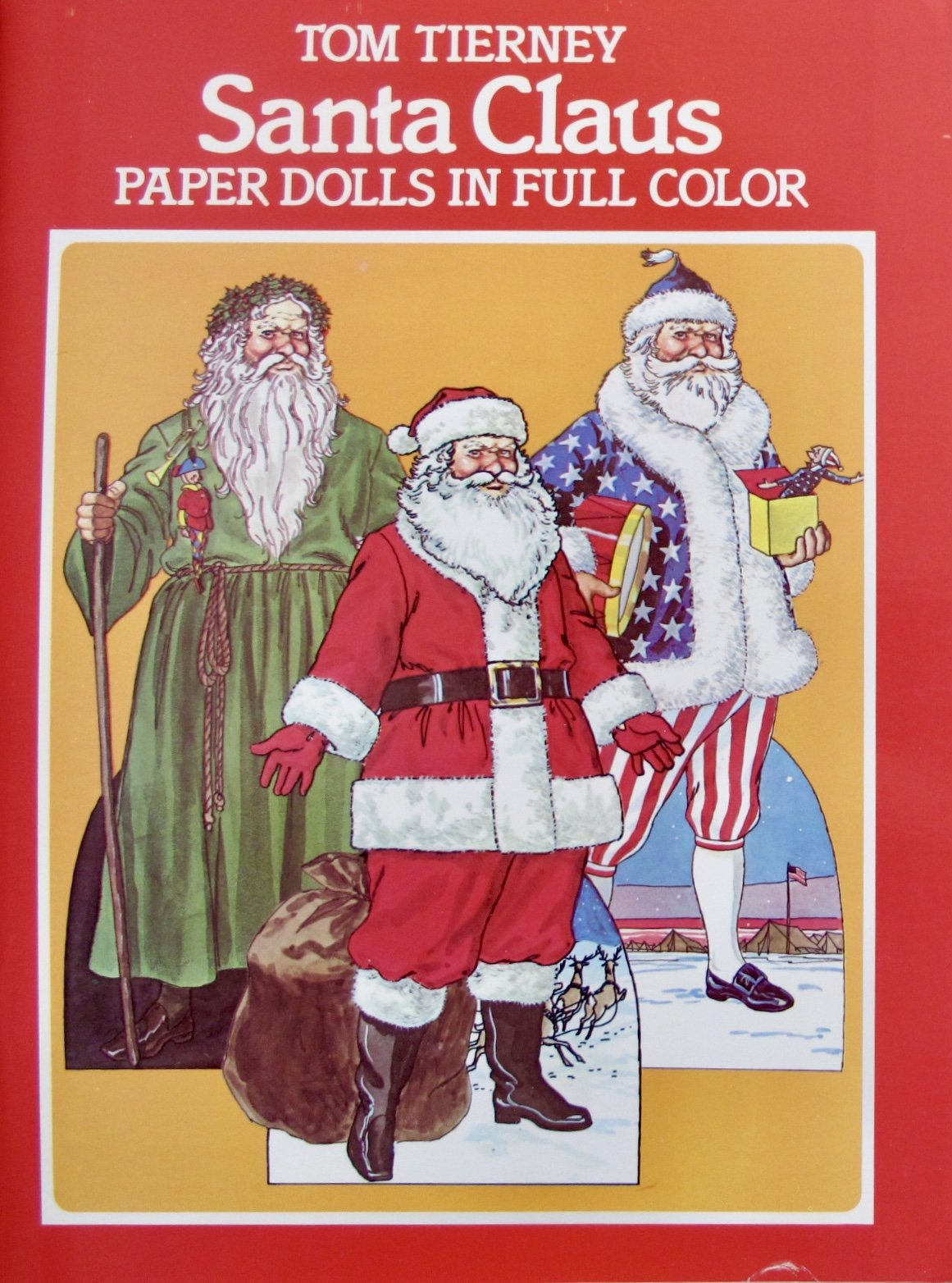 Tom Tierney SANTA CLAUS PAPER DOLLS BOOK (UNCUT) in Full COLOR w 4 Card Stock DOLLS, 8 Figures, XMAS TREE & Decorations, COSTUMES (1983 Dover)
