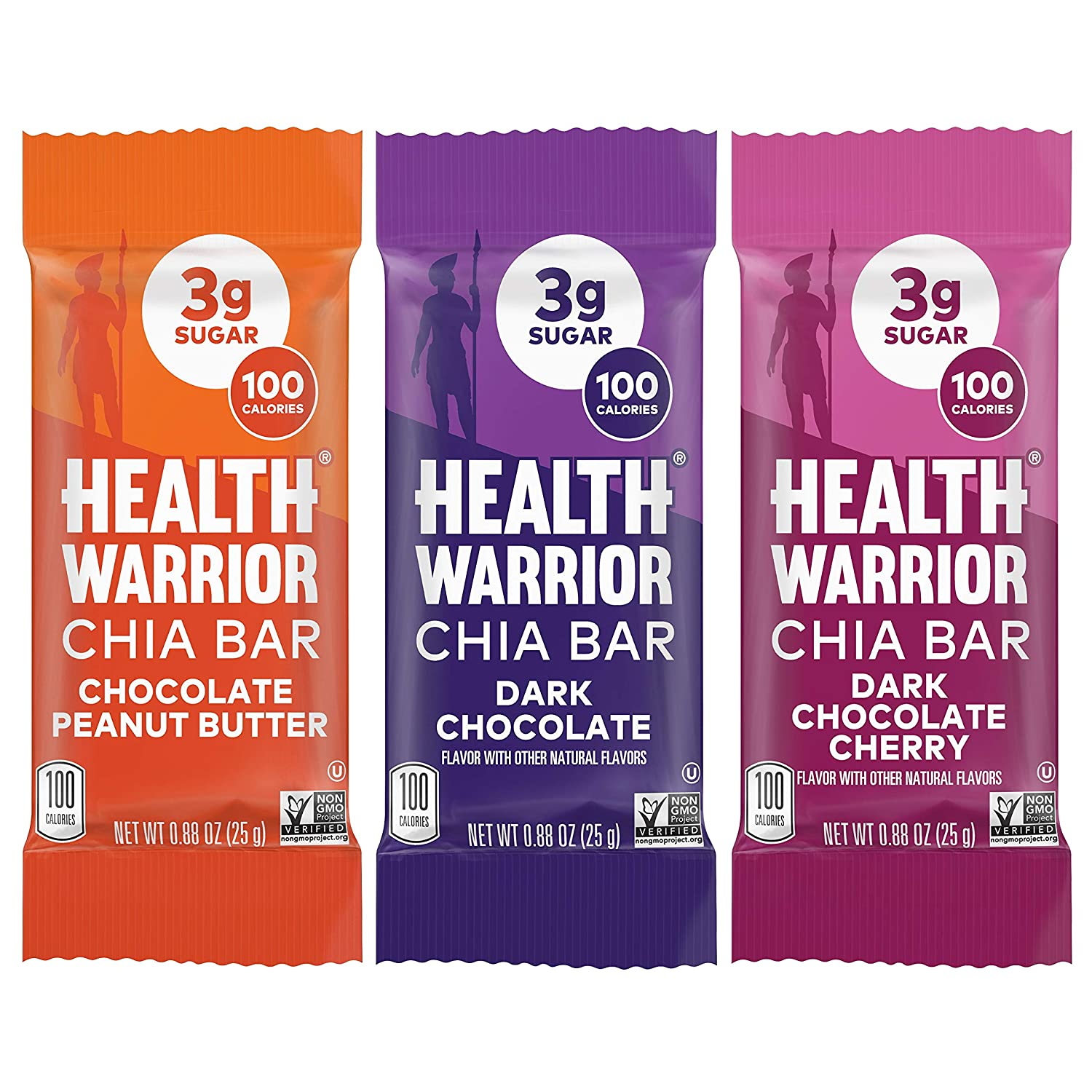HEALTH WARRIOR Chia Bars, Chocolate Variety Pack, Gluten Free, 25g bars, 15 Count