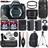 Canon EOS 6D DSLR Camera + Canon EF 50mm 1.8 II Lens + Tamron 70-300mm Lens + 2 Of 32GB Memory Card + Backup Battery + Battery Grip. All Original Accessories Included - International Version
