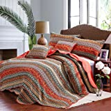 """mixinni 100% Cotton 3 Piece Striped Boho Style Bedspread Quilt Sets, Reversible&Decorative---(1 Quilt 98"""" x 91"""" + 2 Pillow Shams 20"""" x 28"""" ), Queen Size, Red"""