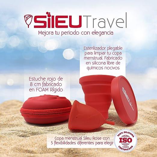 Pack Sileu Travel: Copa menstrual Rose - Modelo de iniciación - Talla L, Rojo, Flexibilidad Standard + Estuche de Flor Rojo + Esterilizador Plegable, ...