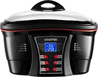Gourmia GMC700 Premium 8 in 1 Programmable Multi Function Cooker - Slow Cooker, Fryer, Steamer, Grill & More - Keep Warm - Nonstick Inner Pot- Racks & Accessories- 5.5 Qt- 1500W- Black- Free Cookbook