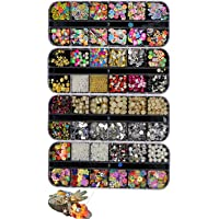 GOTONE 48 Grids Nail Art Rhinestones, Gold Nail Charms Diamonds Studs Rivets Nail Crystal Gems pearls Slices For Nails Decoration Makeup Clothes Shoes