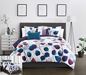 Chic Home Anais 4 Piece Reversible Comforter Set Contemporary Watercolor Floral Theme Design Bedding - Decorative Pillows Sham Included, Twin, Multi Color