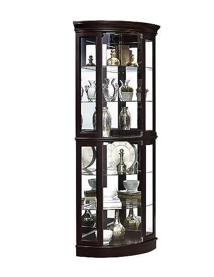 Genial Pulaski P021577 Sable Half Round Mirrored Curio Display Cabinet,  31.25u0026quot; X 22.0u0026quot; ...