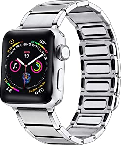 Libra Gemini Compatible for Apple Watch Band 42mm 44mm, Stainless Steel Magnetic Convenient Wear Wristband for Iwatch Series 6/5/4/3/2/1 (Silver)
