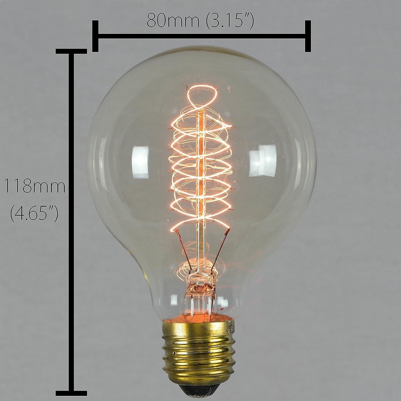 Vintage Edison Light Bulb 60w - Spiral Globe 80mm E27 ES Dimmable - The  Retro Boutique ®
