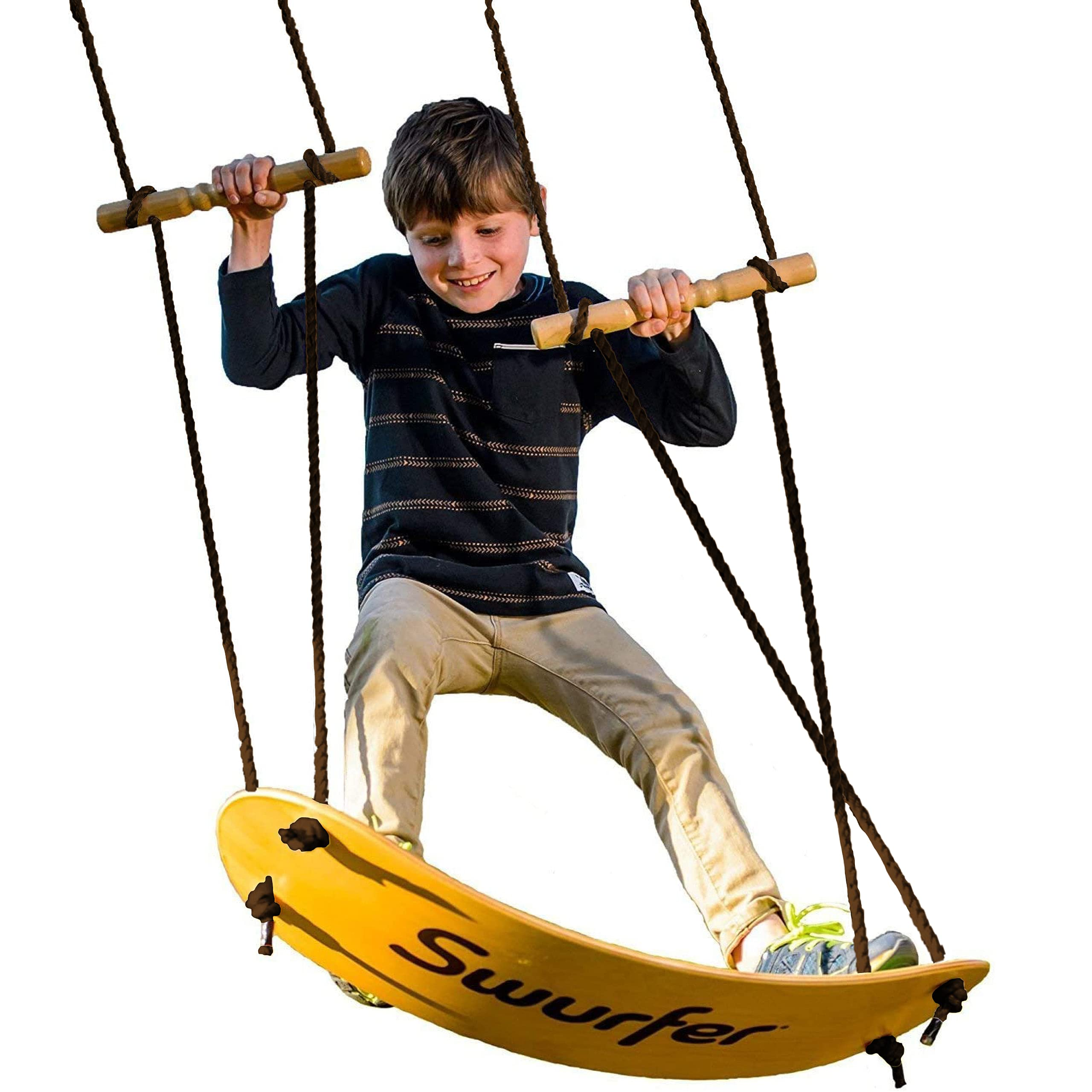 Swurfer - the Original Stand Up Surfing Swing - Curved Maple Wood Board To Easily Surf The Air