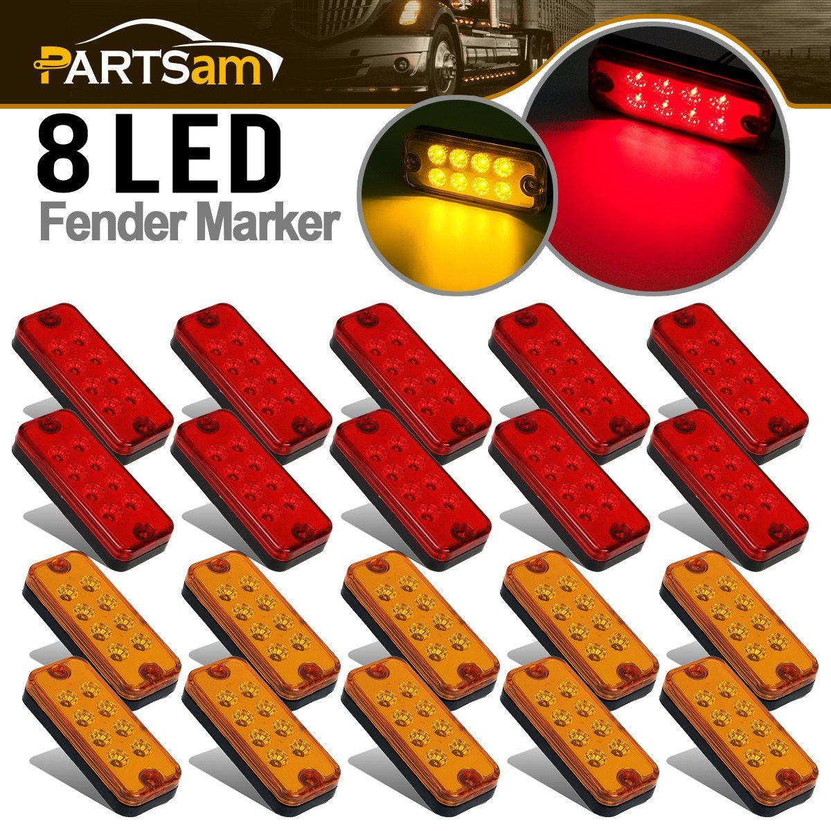 Partsam 20x 4 Side Marker Car Truck Trailer Light Indicators 8-LED Amber/Red by Partsam