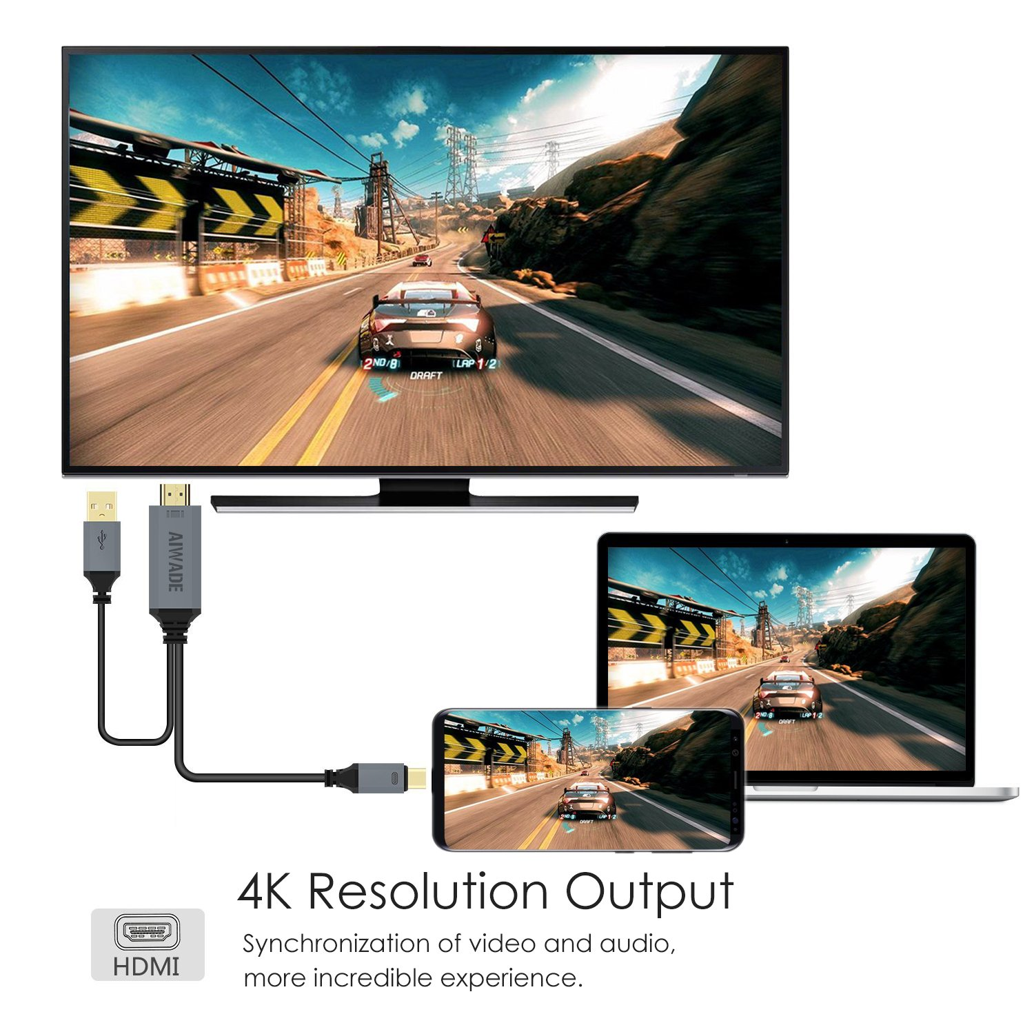 USB C to HDMI Cable,MacBook Pro USB 3.1 Type-C to HDMI 4K Digital AV Adapter Charger Cord,Android LG Samsung Galaxy HDMI Converter Dongle for TV Monitor Projector,Apple iMac Thunderbolt HDMI Connector by AIWADE (Image #3)