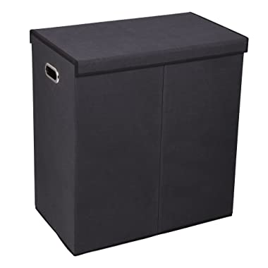 Household Essentials 5618 Double Hamper Laundry Sorter with Magnetic Lid Closure - Black