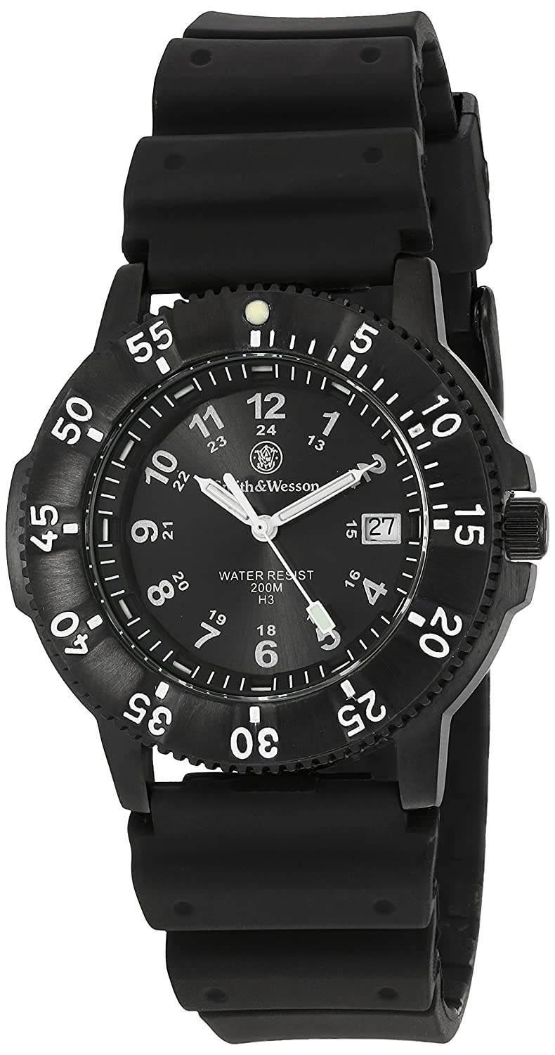 Smith and Wesson Sport Black - Tritium - Datum - 2 ArmbÄnder - Wasserdicht bis 200 m - Weee-Reg-Nr. DE93223650 Uhren