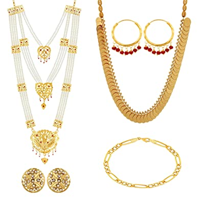 d522a8d61 Buy Gold Nera Gold Brass Hyderabadi Pearl and Punjabi Ginni Necklace Sets  for Women Online at Low Prices in India | Amazon Jewellery Store - Amazon.in