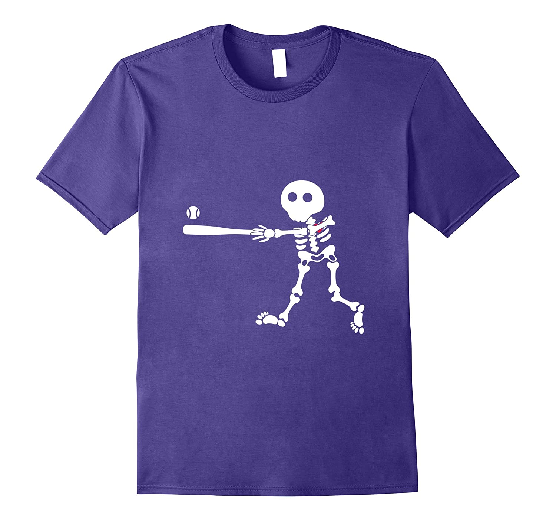 baseball skeleton halloween shirt-TJ