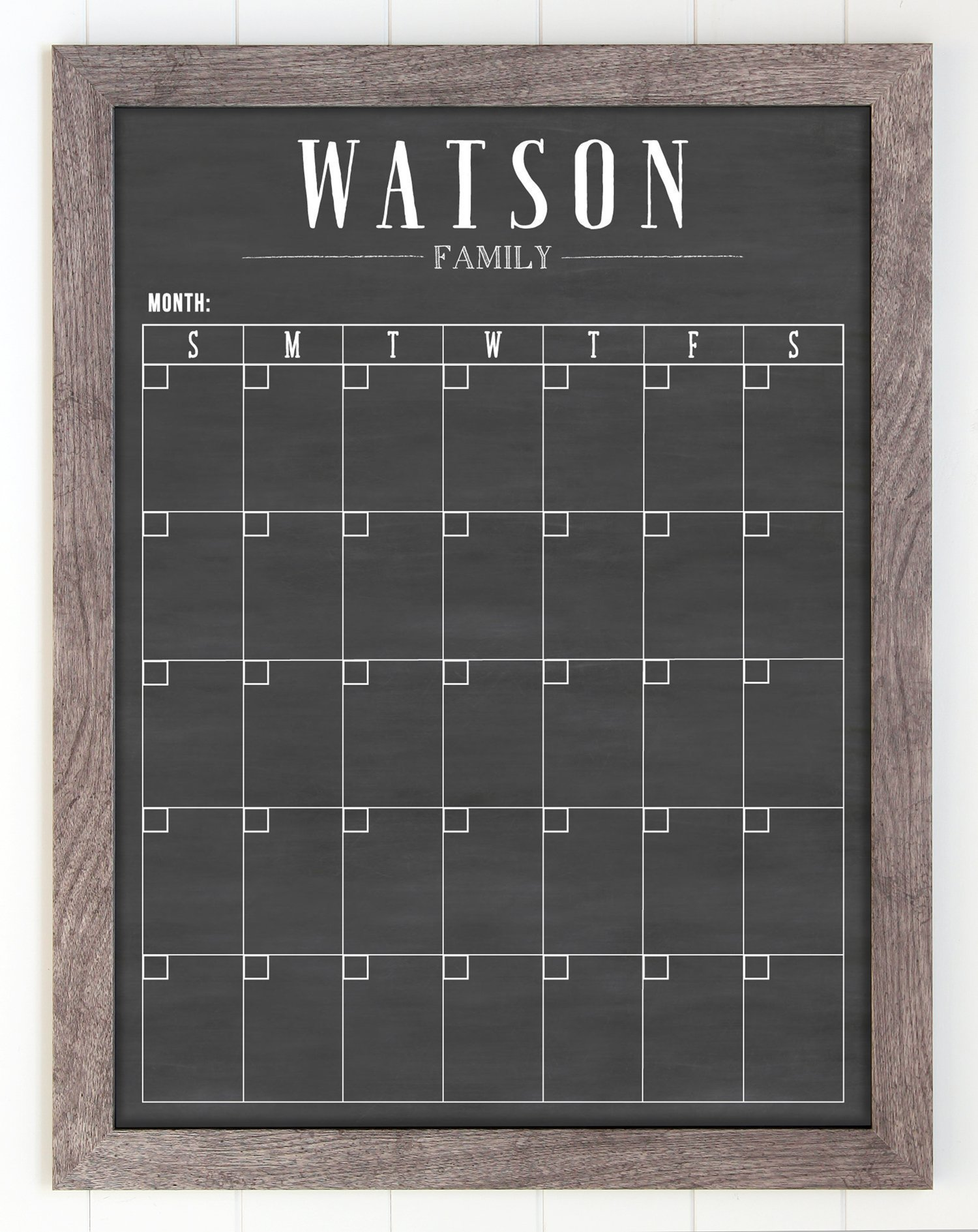 Dry Erase Framed Calendar, 18x24 Customized Dry Erase Wall Calendar, Modern Style Chalkboard Calendar, Family Framed Calendar, 2018 calendar organizer, Command Center, Planner, Custom