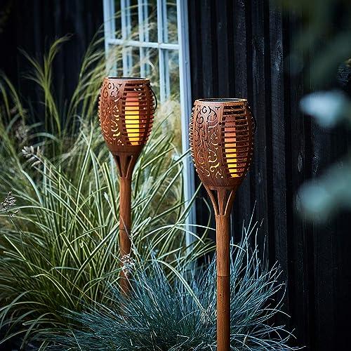 Lights4fun, Inc. Set of 2 Solar Powered Flickering Flame Waterproof Outdoor Tiki Torch Lights