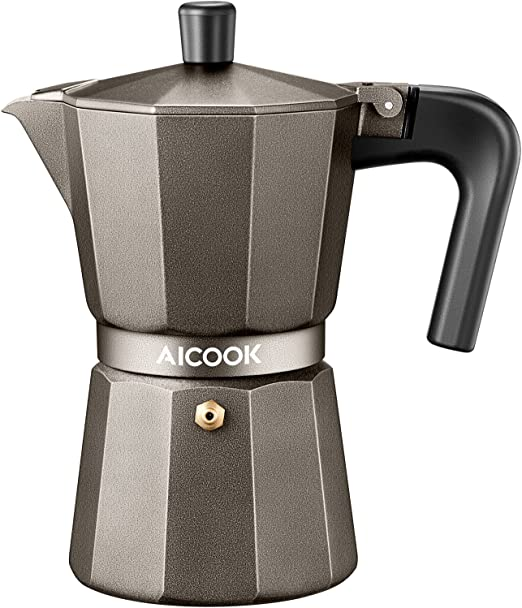 AICOOK Stovetop Espresso Machine, 6 Cups Moka Pot, Espresso and Coffee Maker for for Gas or Electric Ceramic Stovetop, Espresso Shot Maker for Italian ...
